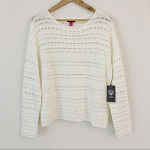 Vince Camuto Ivory Crocheted Sweater